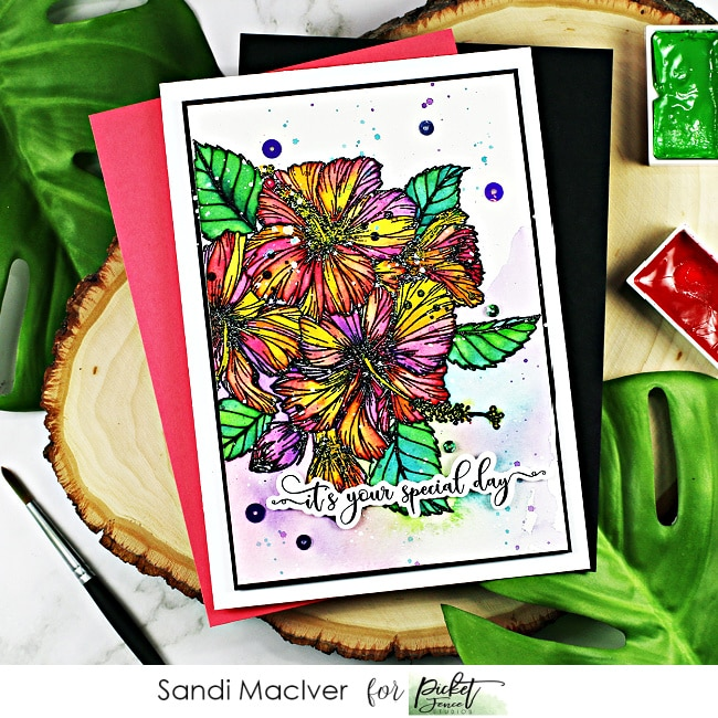hand painted greeting card created using the Tropical Hibiscus Bouquet stamp set from Picket Fence Studios