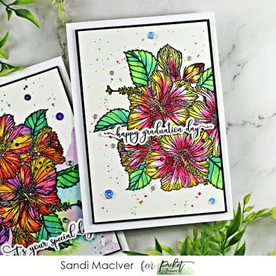 hand made greeting card created with the new Tropical Hibiscus Bouquet stamp from Picket Fence Studios