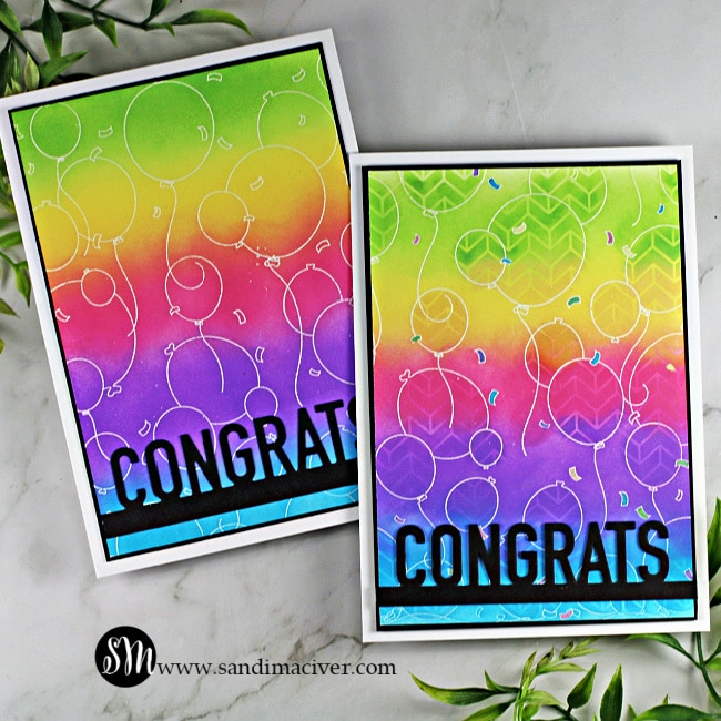 two handmade greeting cards created with the Party Balloons background stamp from Simon Says Stamp and colored in rainbow colors