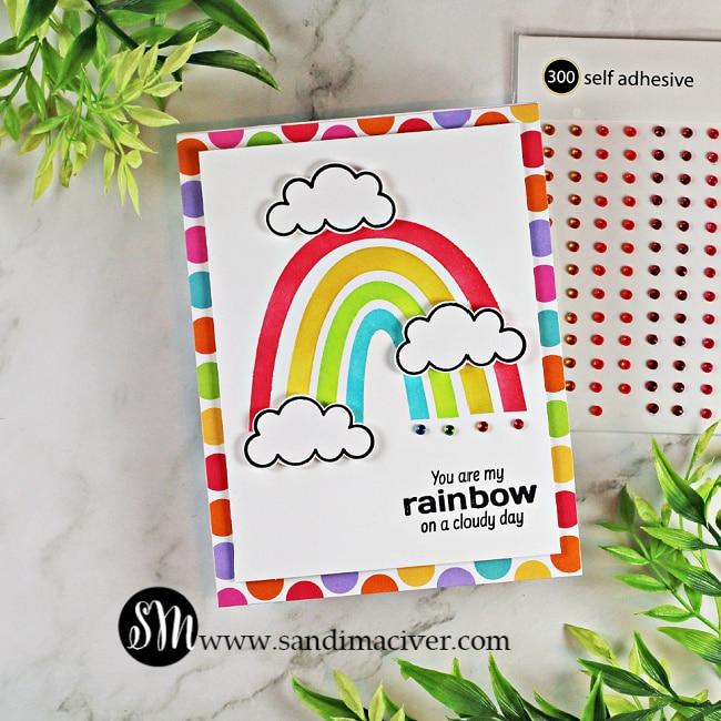 handmade rainbow card created with the Simon Says Stamp June Card Kit
