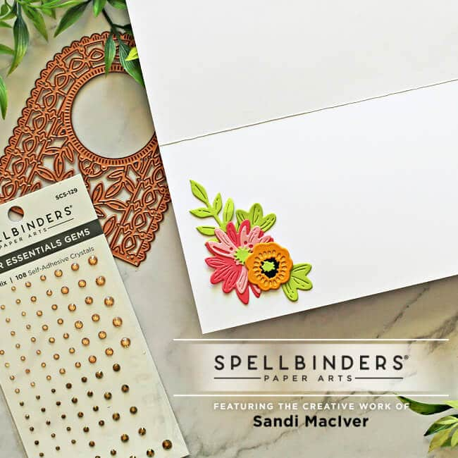 image of the inside of the slimline card decorated with die cuts from Spellbinders Papercrafts
