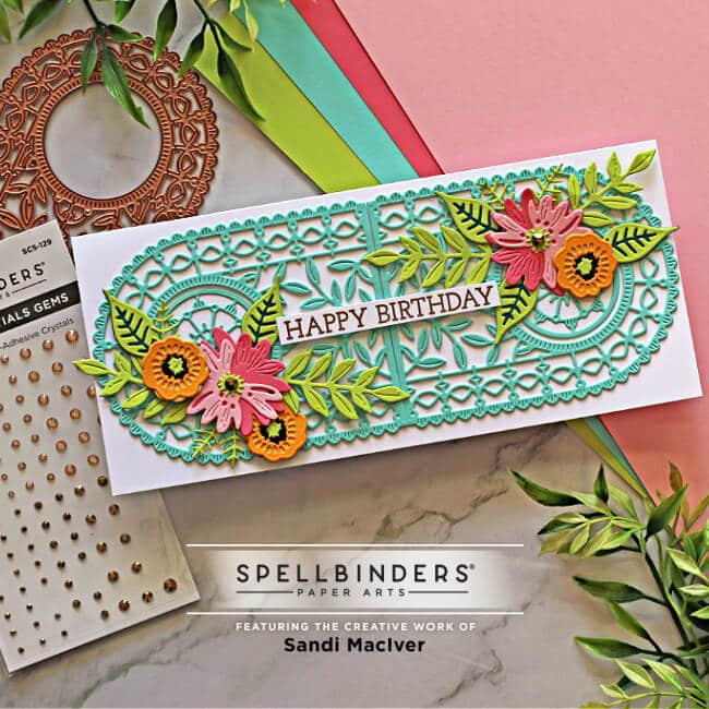 handmade Slimline greeting card created with the Spellbinders Small Die of the Month arched A2 and Slimline Cards Die Kit