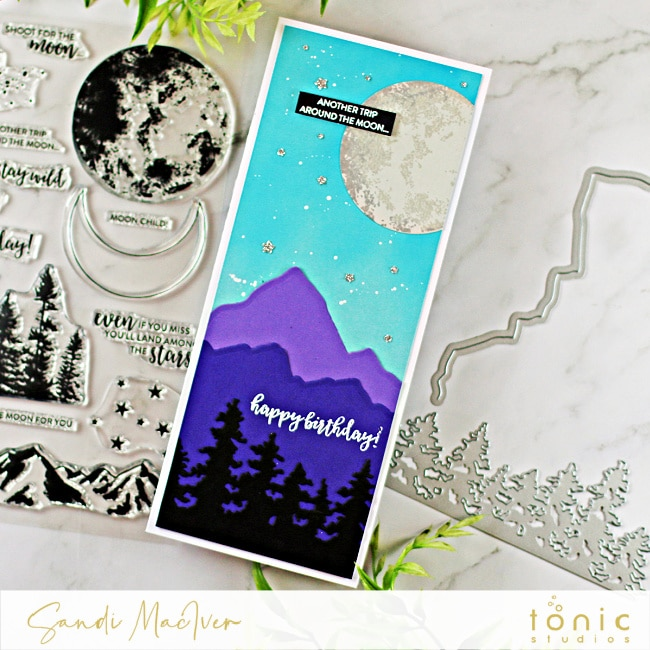 hand made slimline card created with Tonic Studios Shoot for the Moon stamp and die set