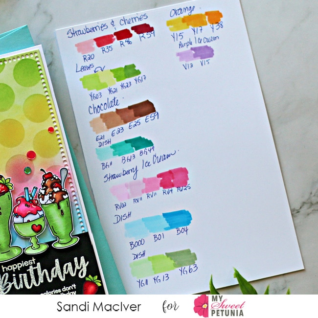 list of copic markers used to create the hand made greeting card Thanks for being so sweet
