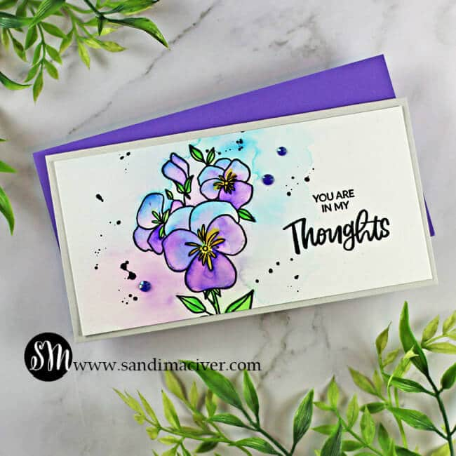 hand made water colored mini slimline card created with Ellen Hutson Pressing Thoughts stamp and die set for cardmakingi