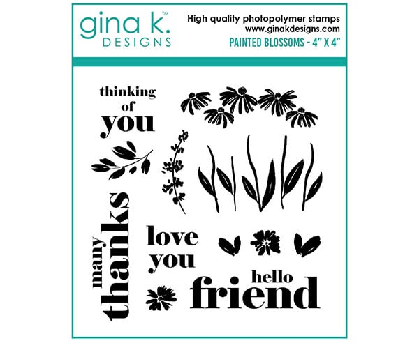 painted blooms stamp set from Gina K Designs for stamping, card making and paper crafting projects