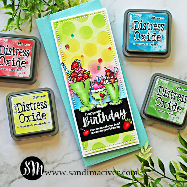 hand made slimline greeting card with a background stenciled in Distress Oxide Inks and Simon Says Stamp Sundae Afternoons stamp set