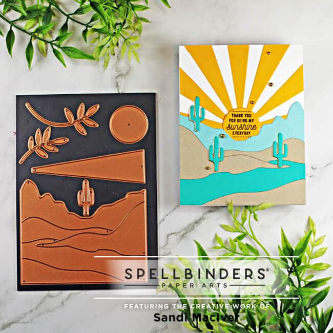 hand made greeting card created with card making products from the June Small Die of the Month Kit Spellbinders Color Block Landscape