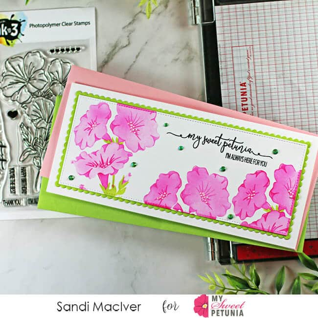 Mind Blowing Triple Layer Stencil handmade slimline card decorated with stenciled Petunias using a new stencil from Ink On 3