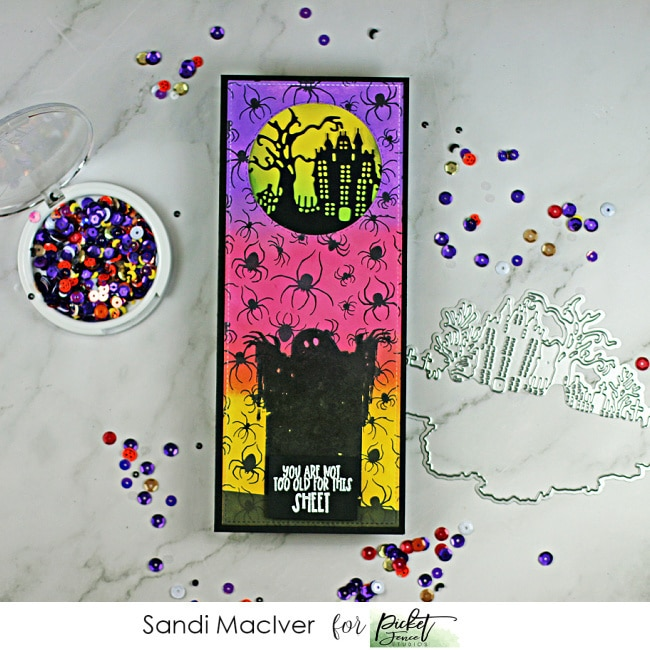 handmade Halloween card with insert using cardmaking products from Picket Fence Studios