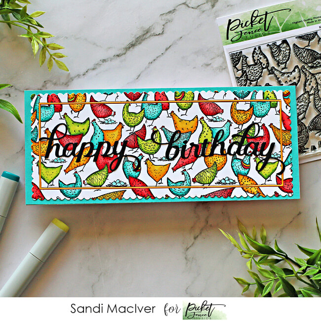 handmade Slimline Card with a rainbow of colored chickens created with cardmaking products from Picket Fence Studios