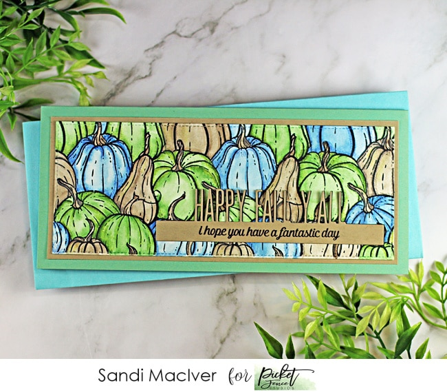 handmade Slimline card with green blue and brown pumpkins using cardmaking products from Picket Fence Studios