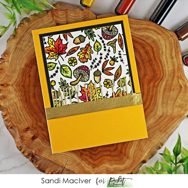 handmade card in fall colors with leaves and branches stamped with cardmaking products from Picket Fence Studios