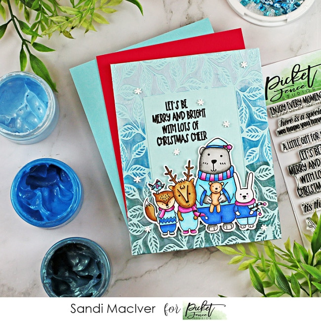 handmade christmas cards using the Sky Blue paper Glaze Ombre from Picket Fence Studios