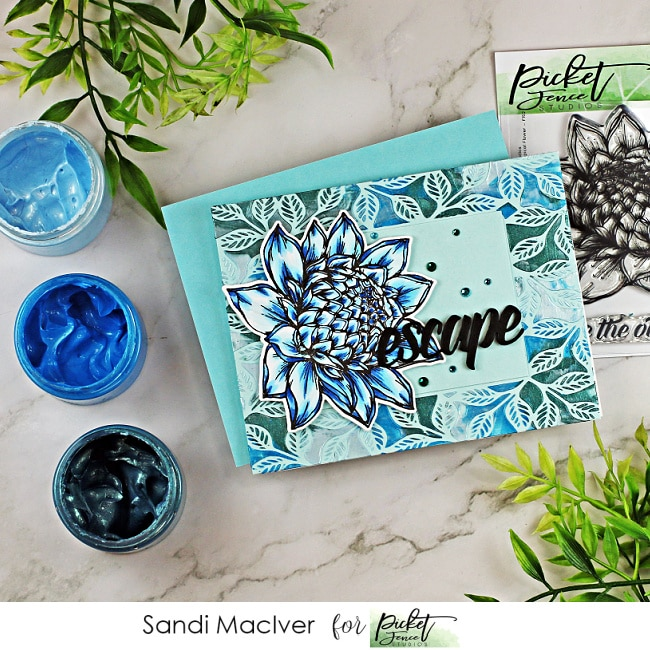 handmade card using card making and paper crafting products from Picket Fence Studios